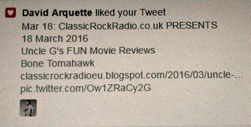 Twitter - Feedback_David Arquette - BoneTomahawk