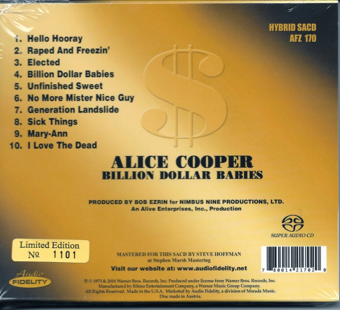 Alice Cooper - BDB - Audio Fidelity - back