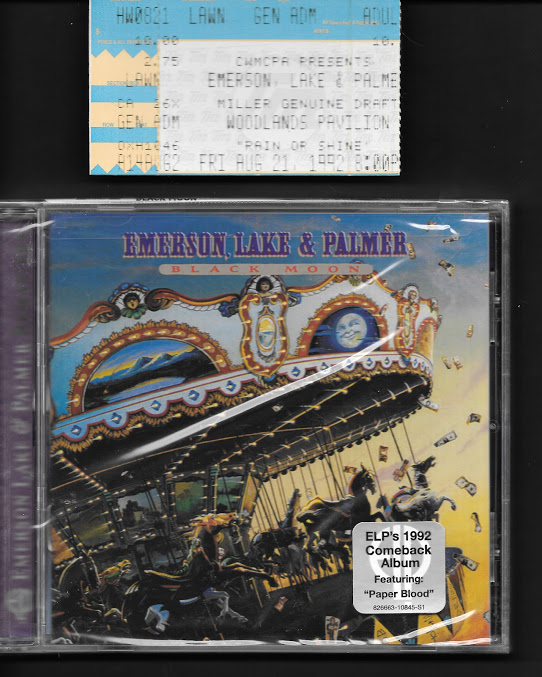 ELP - 1992 Black Moon CD (unopened)_1992 ELP ticket stub