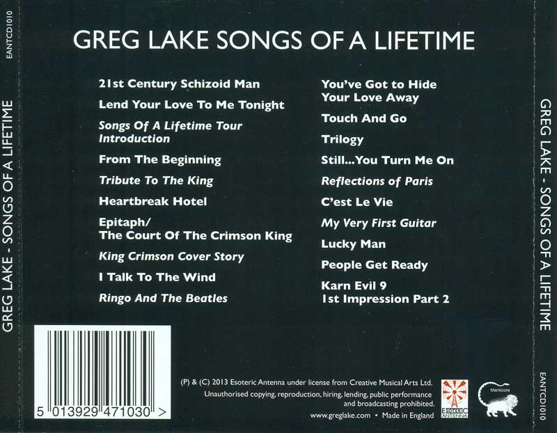 Greg Lake - Songs Of A Lifetime - CD backing